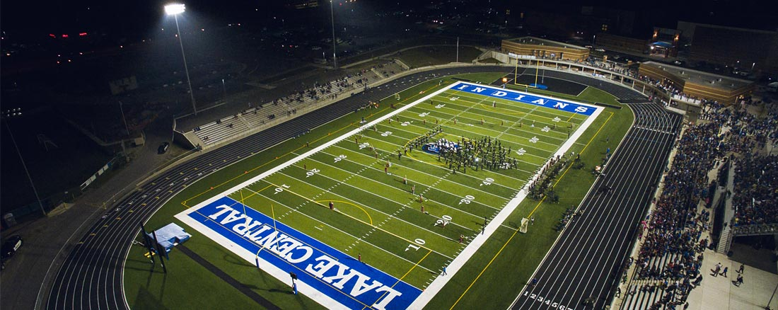 Ariel view of of Lake Central High School football field